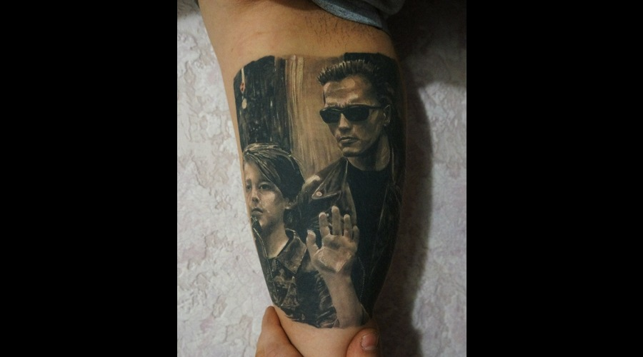 Terminator 2  Movie  Realistic  Realism  Tattoo Black Grey Shoulder