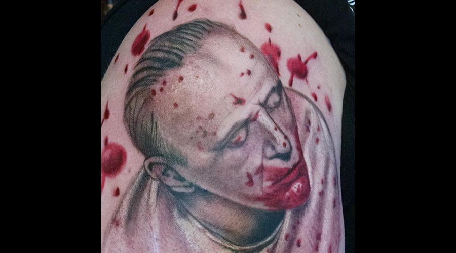Hannibal Lecter Portrait Tattoo Color Shoulder
