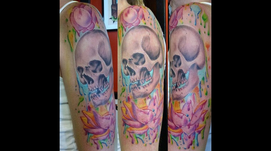 Skull With Water Color Flowers Tattoo Color Shoulder