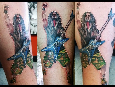 Dimebag Darryl Abbott Portrait Tattoo Pantera Color Lower Leg
