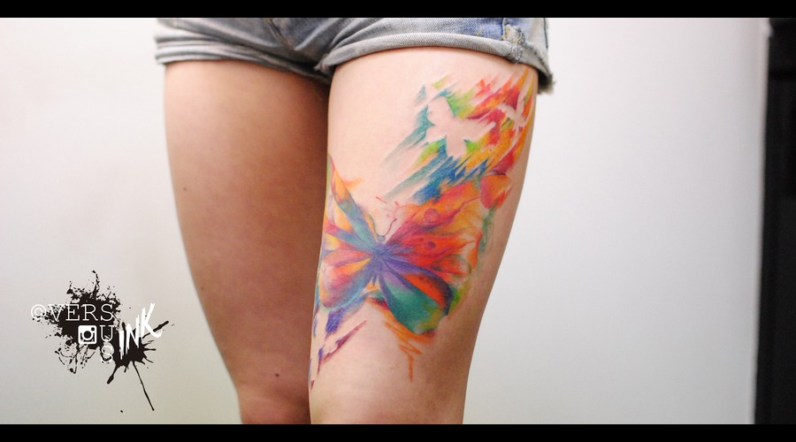 Watercolour  Watercolor  Splash  Modern  Art  Flowers  Freehand  Sketch Thigh