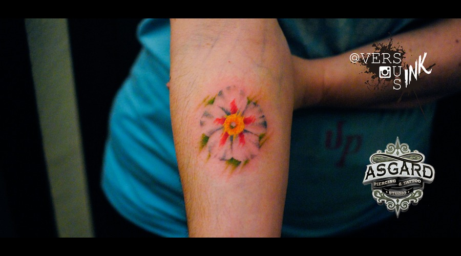 Watercolour  Watercolor  Splash  Modern  Art  Flowers  Freehand  Sketch Forearm