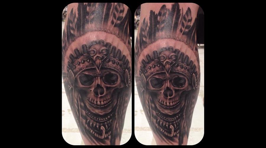 Skull Indianchief Skullheaddress Lower Leg