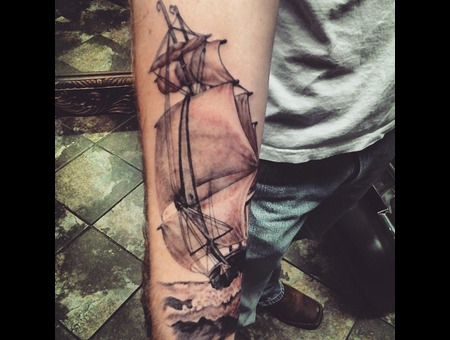 Ship  Sailship. Waves Forearm