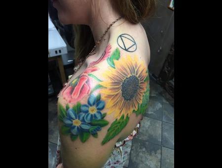 Pretty  Flowers  Colorful  Shoulder