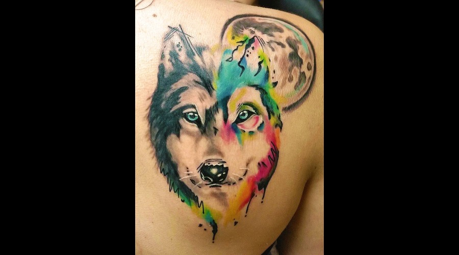 Wolf  Wildlife  Water Color Shoulder