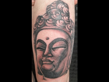 Happy Buddah On Thigh. Black White