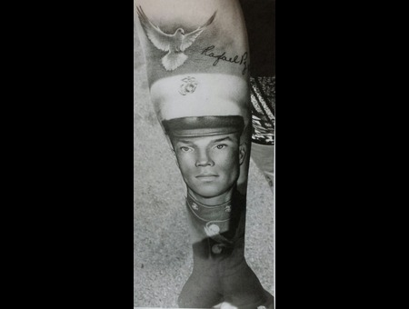 Portrait   Memorial  Black And Grey   Realistic   Military Forearm