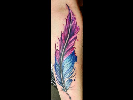 Freehand  Feather Tattoo Watercolor Tattoo  Color Forearm