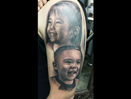 Portrait   Realistic   Black And Grey   Sleeve Arm