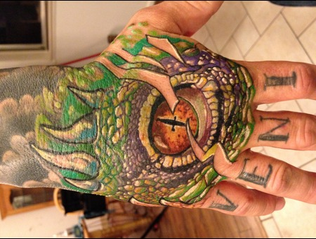 Color Hand Tattoo   Lizard Eye