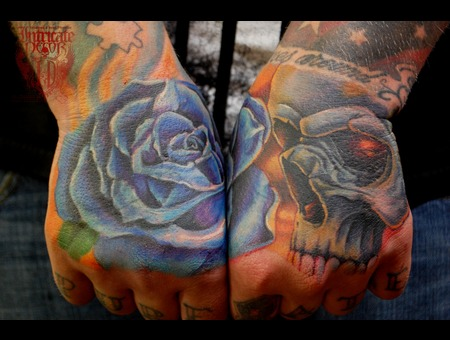 Hand Hands Coverup Skull Rose  Forearm