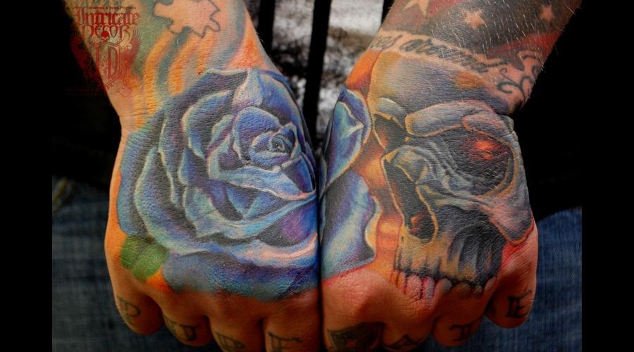 Hand Hands Coverup Skull Rose  Forearm