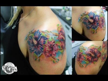 Flowers  Colorfull  Watercolor  Custom  Unique Shoulder