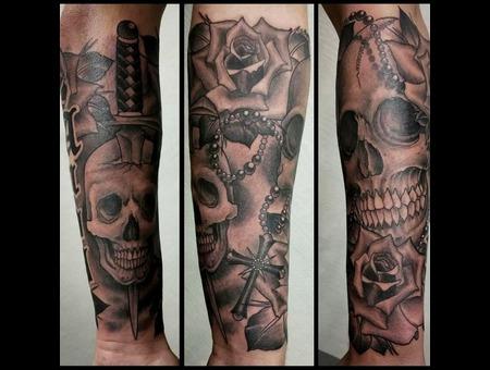 Skull  Sword  Roses Forearm