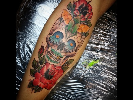 Skull  Dayoffthedead  Sugarskull  Roses  Beetle  Lower Leg