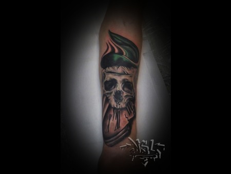 Skull Clock Memento Mori Cover Up Forearm