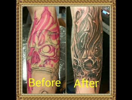 Cover Up  Skull Forearm