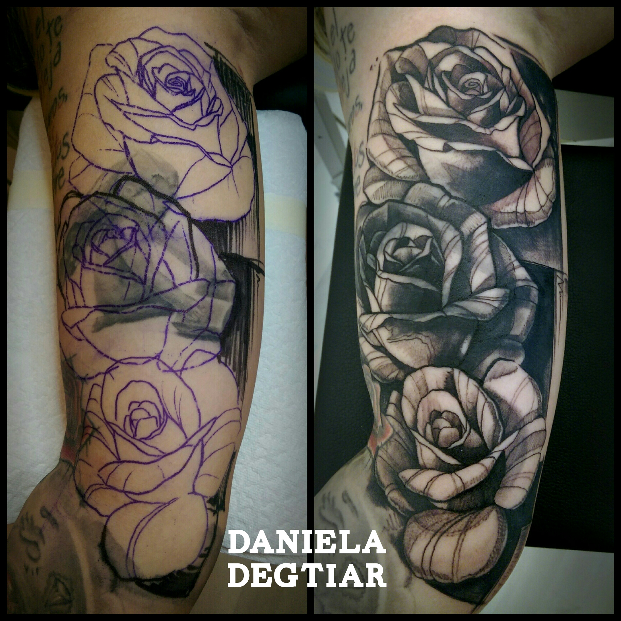 Daniela degtiar certified artist for Tattoo sleeve cover up forearm