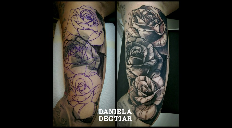 Cover Up Tattoo Rosses Black Grey Arm