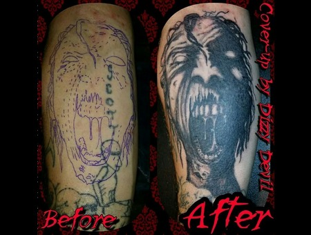 Black And Grey  Walking Dead  Free Hand  Zombie  Cover Up   Forearm