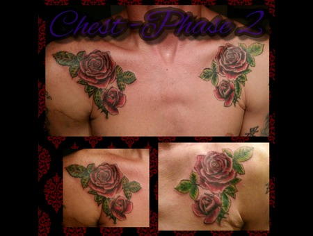Chest  Color  Roses  Breast Plate  Guy Tattoos  New Age Chest