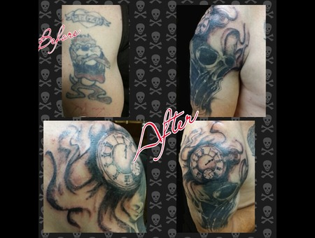 Cover Up. Black And Grey  Arn Tattoos Arm