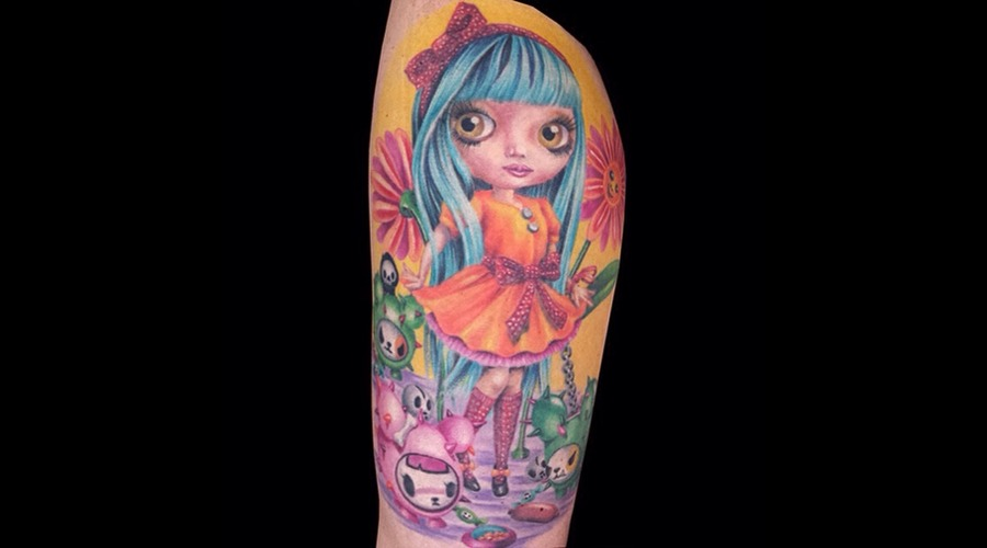 Missnico  Nico  Berlintattoo  Doll  Colortattoo  Cute  Allstyletattoo  Eyes Thigh