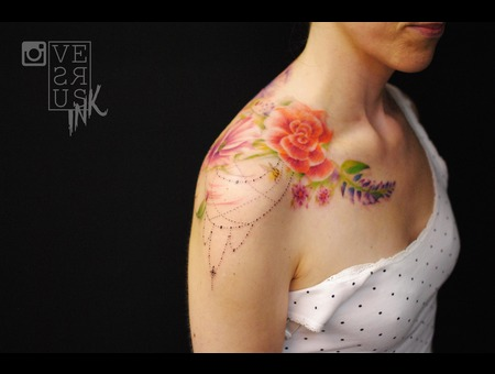 Watercolour  Watercolor  Splash  Modern  Art  Flowers  Freehand  Sketch Shoulder