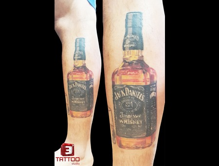 Color Tattoo  Jack Daniels  Realism Lower Leg