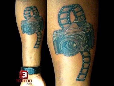 Camera Tattoo  Black And Grey Tattoo Forearm