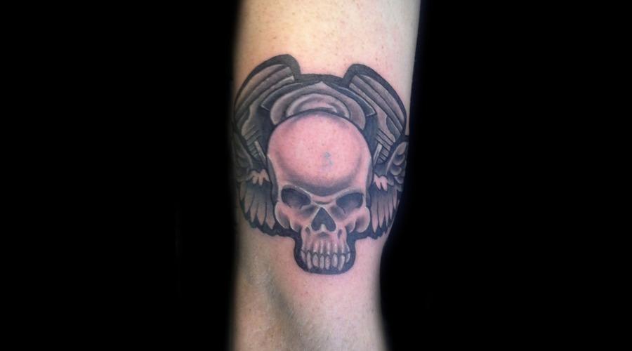 Harley  Motor  Skull  Wings Black Grey Arm
