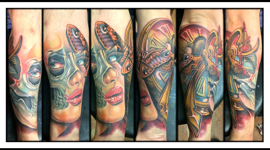 Color  Realism  Woman  Skull  Moth  Clock  Blood  Lips  Portrait Forearm