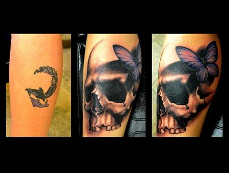 Skull  Freehand  Coverup   Lower Leg