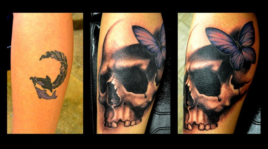 Skull  Freehand  Coverup   Lower Leg