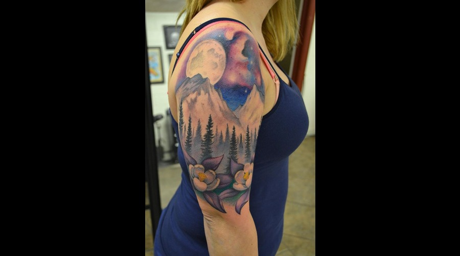 Freehand  Landscape  Realism  Space  Moon  Mountains  Trees  Columbines   Arm