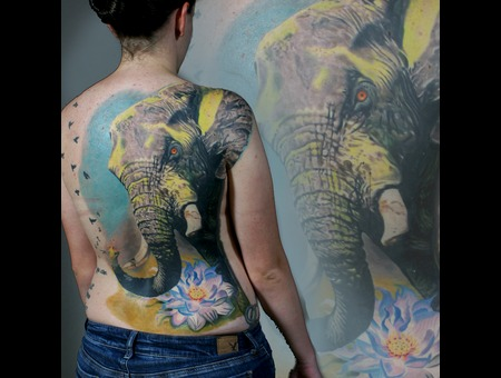 Elephant  Back Piece  Elephant  Color Tattoo  Realism Back