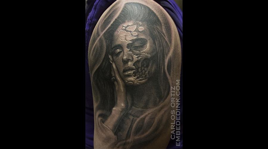 Lana Del Rey Woman Skull Morph Realistic Sugar Skull Evil