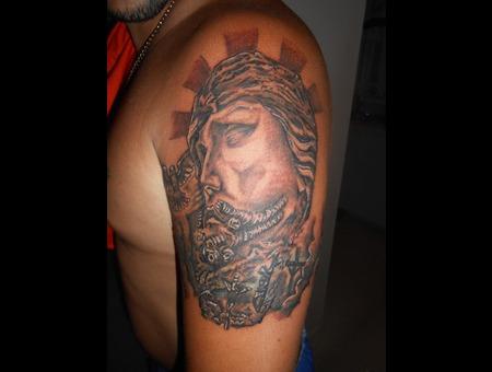 Religious  Jesus  Black N Grey  Portrait  Easter  Resurrection Arm