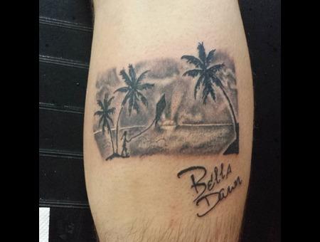 Ocean Scenery Palm Trees  Beach Lower Leg
