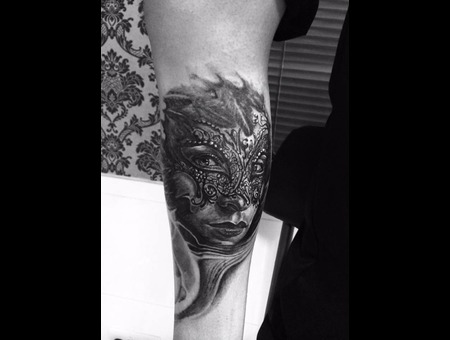 Mask  Venetian Mask  Black And Grey . Realistc Tattoos   Lower Leg