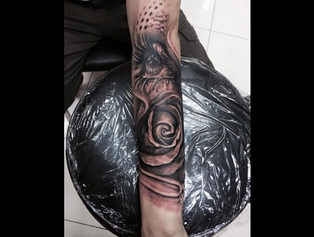 Black And Grey . Realistc Tattoos  Flower  Eye  Forearm