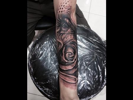 Black And Grey . Realistc Tattoos  Flower  Eye  Forearm