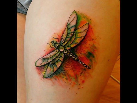 Watercolour Dragonfly Thigh Colour Thigh