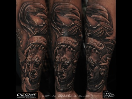 Aztec Sculpture Tattoo Arm
