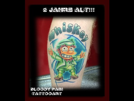 Simpsons  3d Tattoo Lower Leg