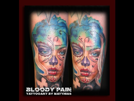 La Catrina  Portrait  Colour Portrait  Realistic  Aquarell Arm