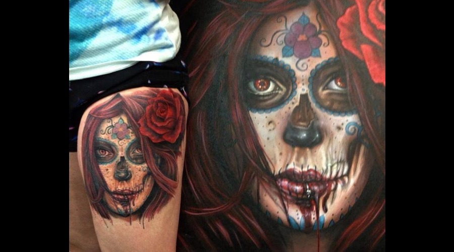 Day Of The Dead  Original Design Thigh