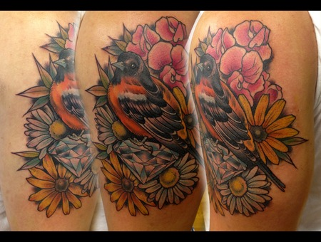 Oreole  Diamond  Black Eyed Susan  Flower  Flowers  Tattoo  Daisy  Bird Color