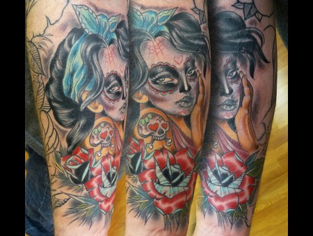 Day Of The Dead Girl  Skull  Girl  Lady  Rose  Tattoo Color